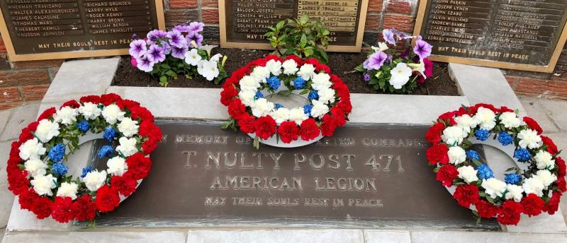 On Memorial Day 2020, we had a simple service, placing wreaths at our monument.